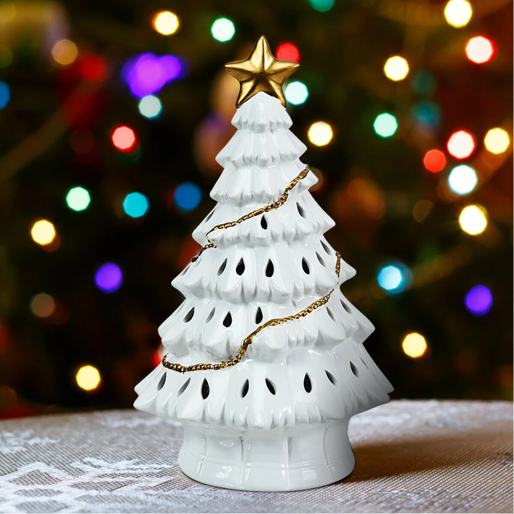 """11"""" PreLit Ceramic Hollow Christmas Tree with LED Lights"""