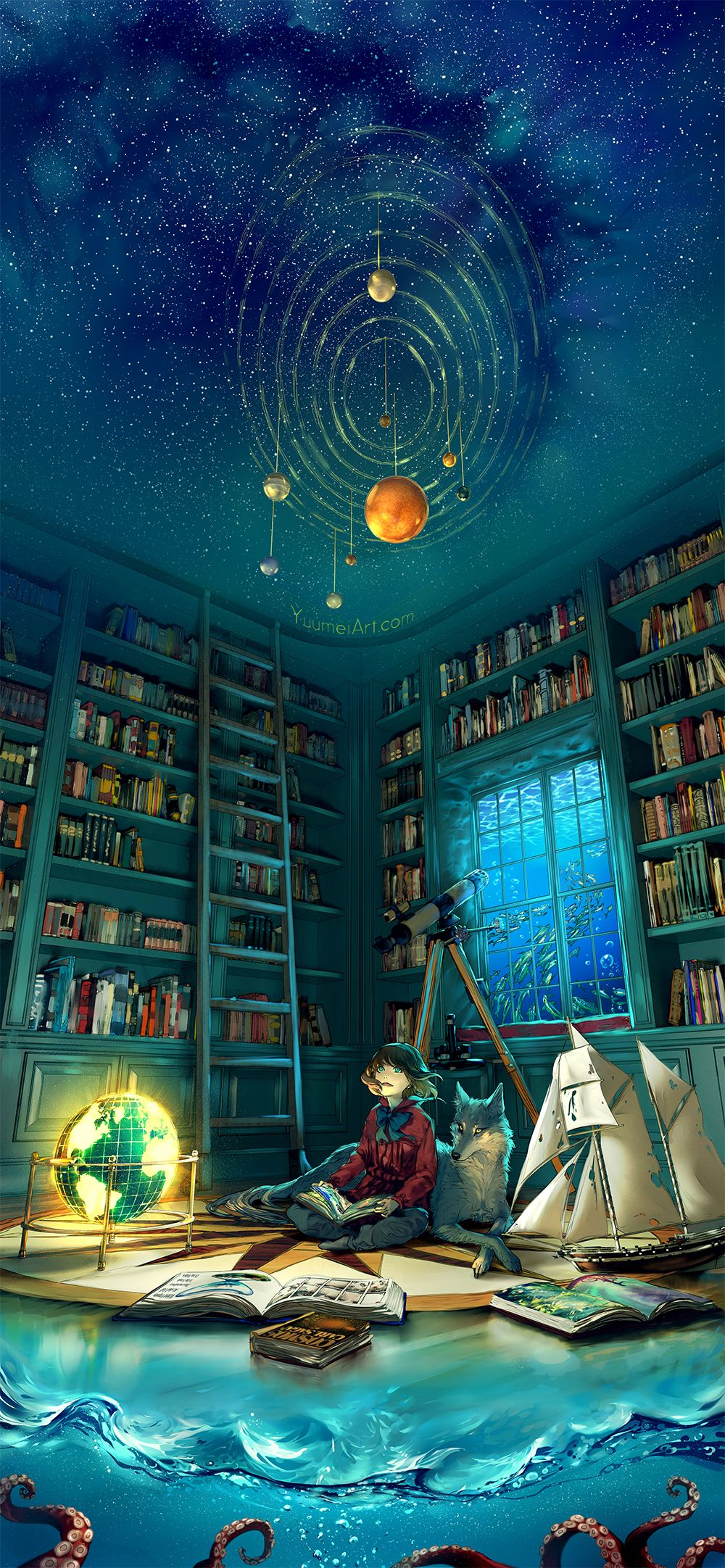 """""""Boundless"""" by yuumei.deviantart.com on @DeviantArt    'From the depth of the ocean/  To the limitless sky/  Open a book, open your mind/  This world is boundless/  So let your imagination fly' (attribution?)"""