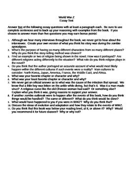 world war z essay test students 11 essay questions pertaining to the book world war z not the movie