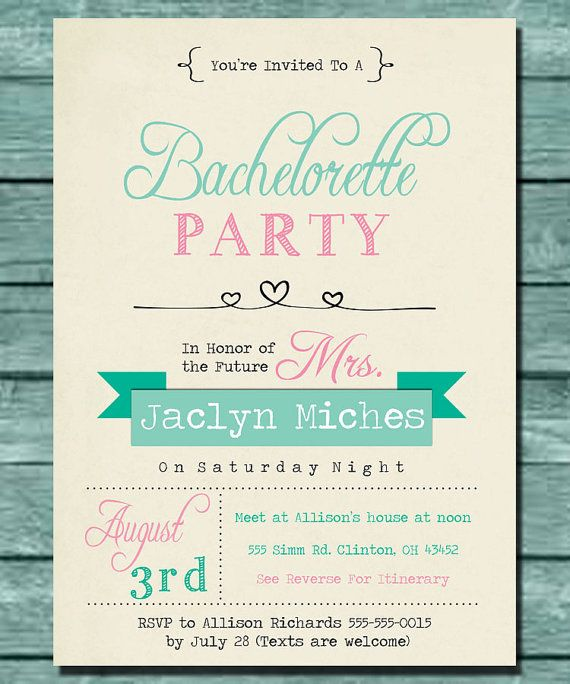 Cute Mint and Pink Bachelorette Party Invitation Print Yourself – Customizable Bachelorette Party Invitations