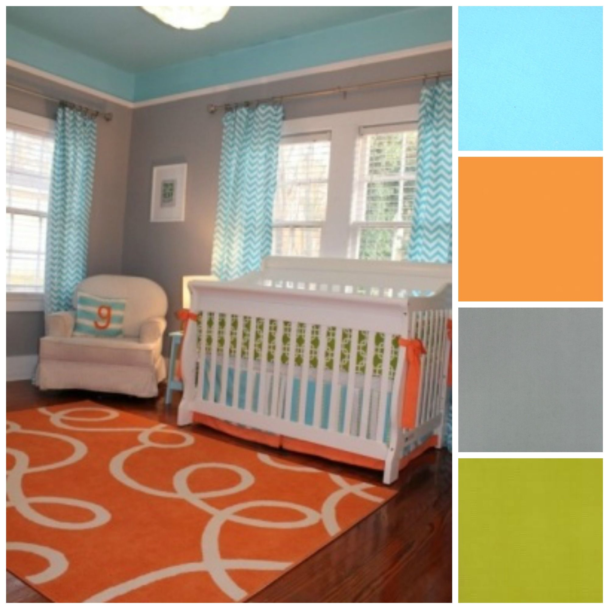 Baby Nursery Baby Nurseryidea Green Orange Blue Gray