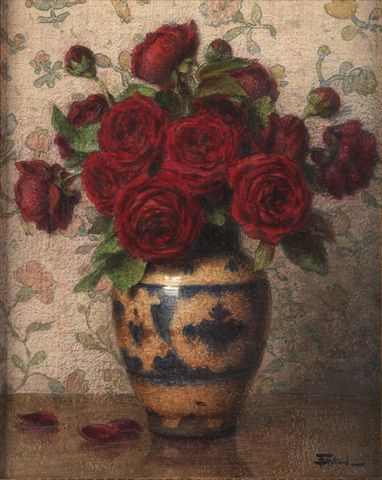 simena:    Ernest Filliard (French, 1868-1933), Bouquet of red roses. Watercolour on embossed paper, 42.5 x 34 cm.