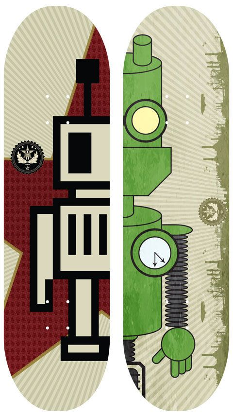 cogwurx's Robot skateboard decks by Romeo Zivoin, via Behance