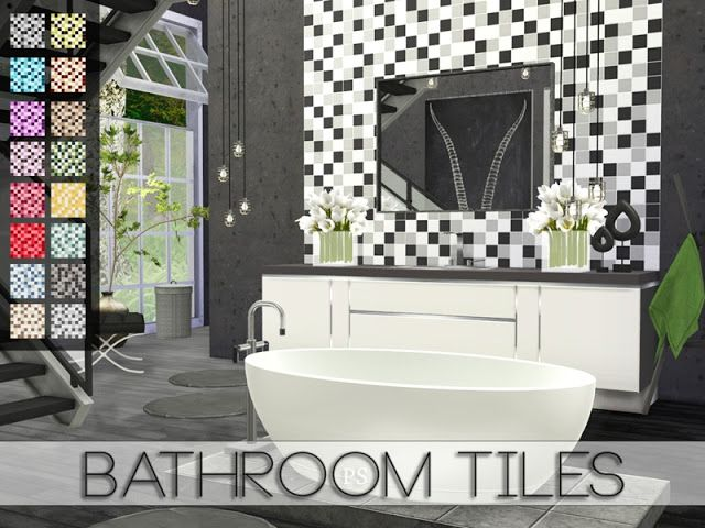 Sims 4 CC\'s - The Best: Bathroom Tiles by Pralinesims ...