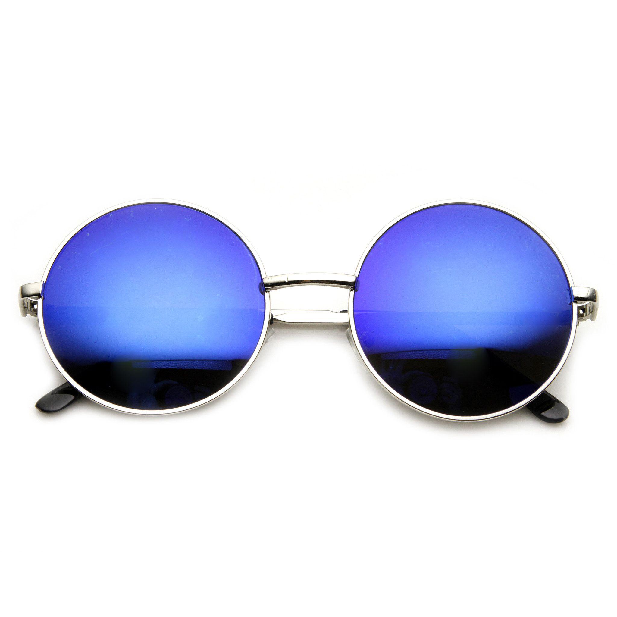 Metal Classic Round John Lennon Inspired Flash Mirrored Flat Lenses Sunglasses