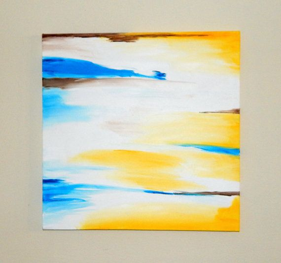 20x20 large abstract wall art. Yellow and blue wall decor. Large ...