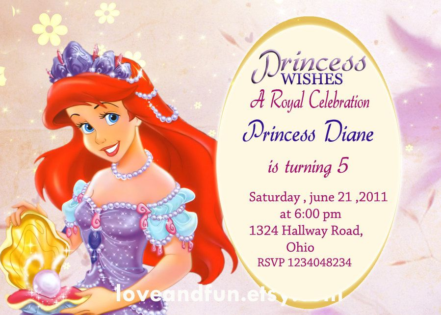 Ariel Printable Kids Birthday Party Invitation Photo Card You Choose The FONT FREE Matching Thank 1190 Via Etsy