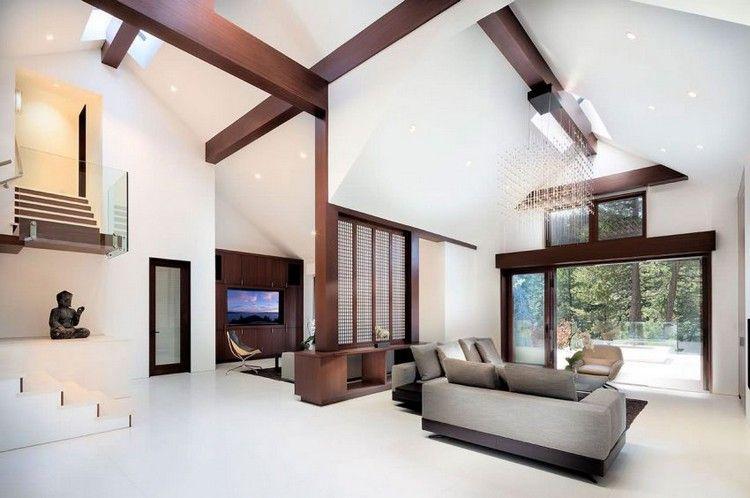 Modernes Wohnzimmer mit Holzbalken Inneneinrichtung Pinterest - holzbalken decke interieur modern