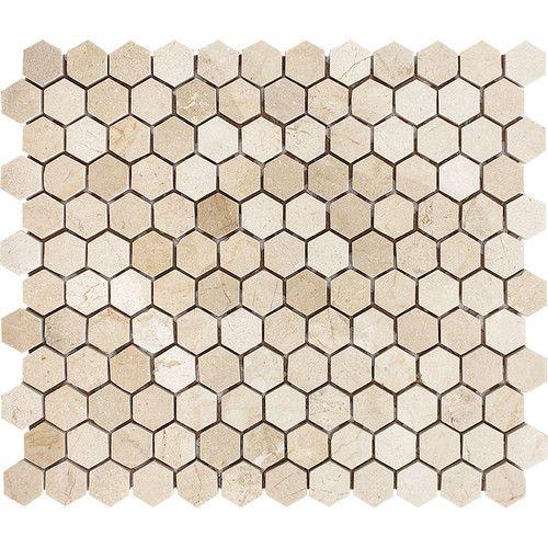 10 50 Floor Deccor Crema Marfil Hexagon 1 X 1 Stone Mosaic Tile Polished Stone Mosaic Tile Stone Mosaic Large Shower Tile