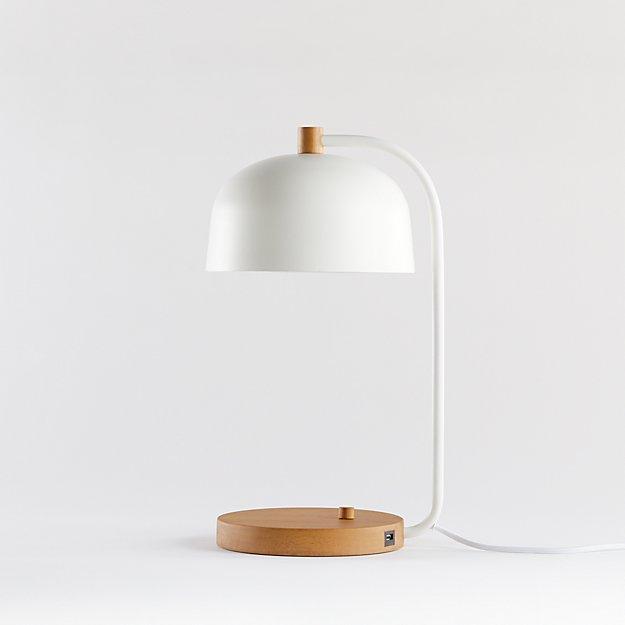 lex white dome usb desk lamp crate