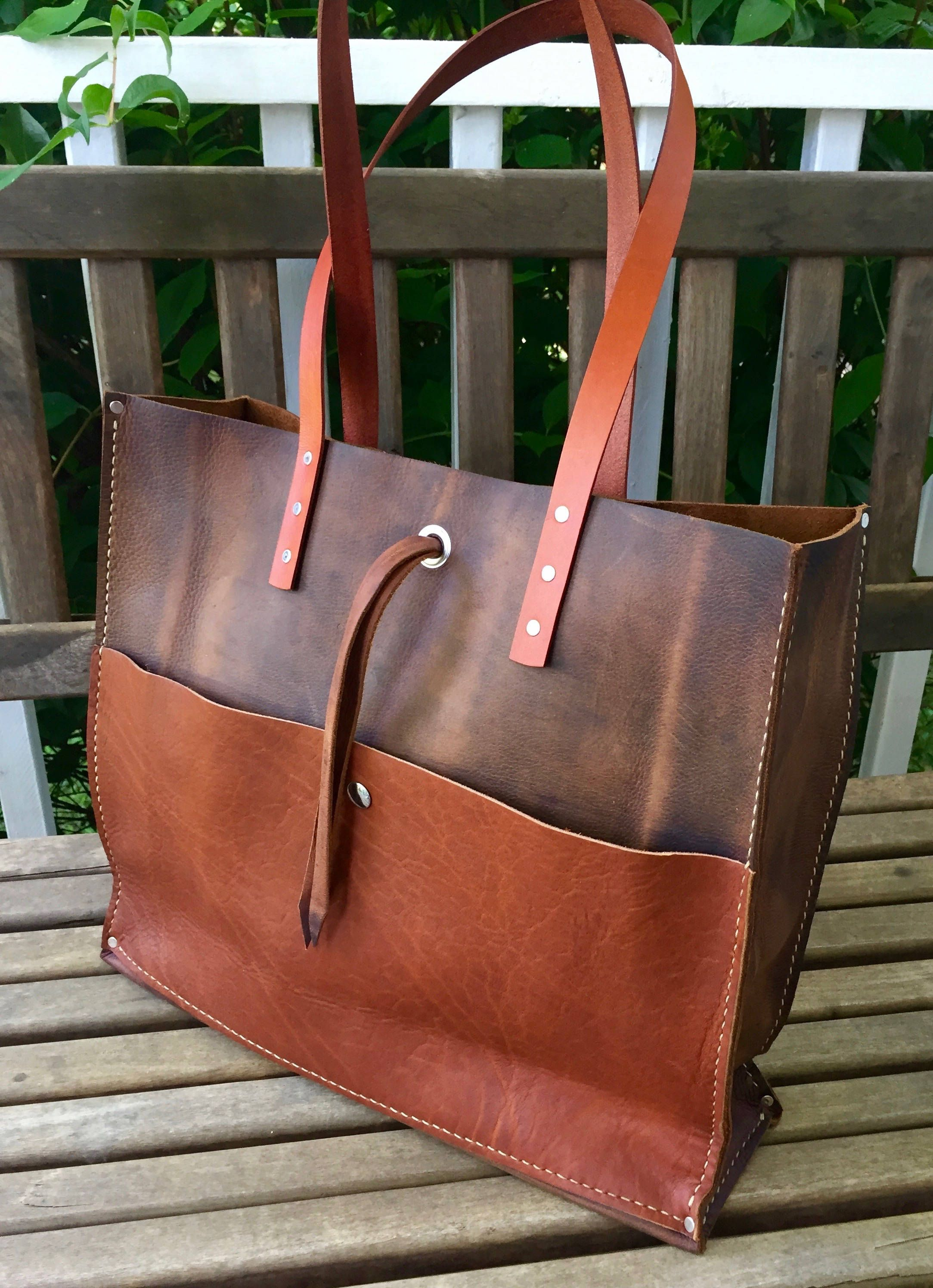 825bba2d66bcd Mixed Leather Tote* Large Leather Tote* Handmade Leather Tote ...