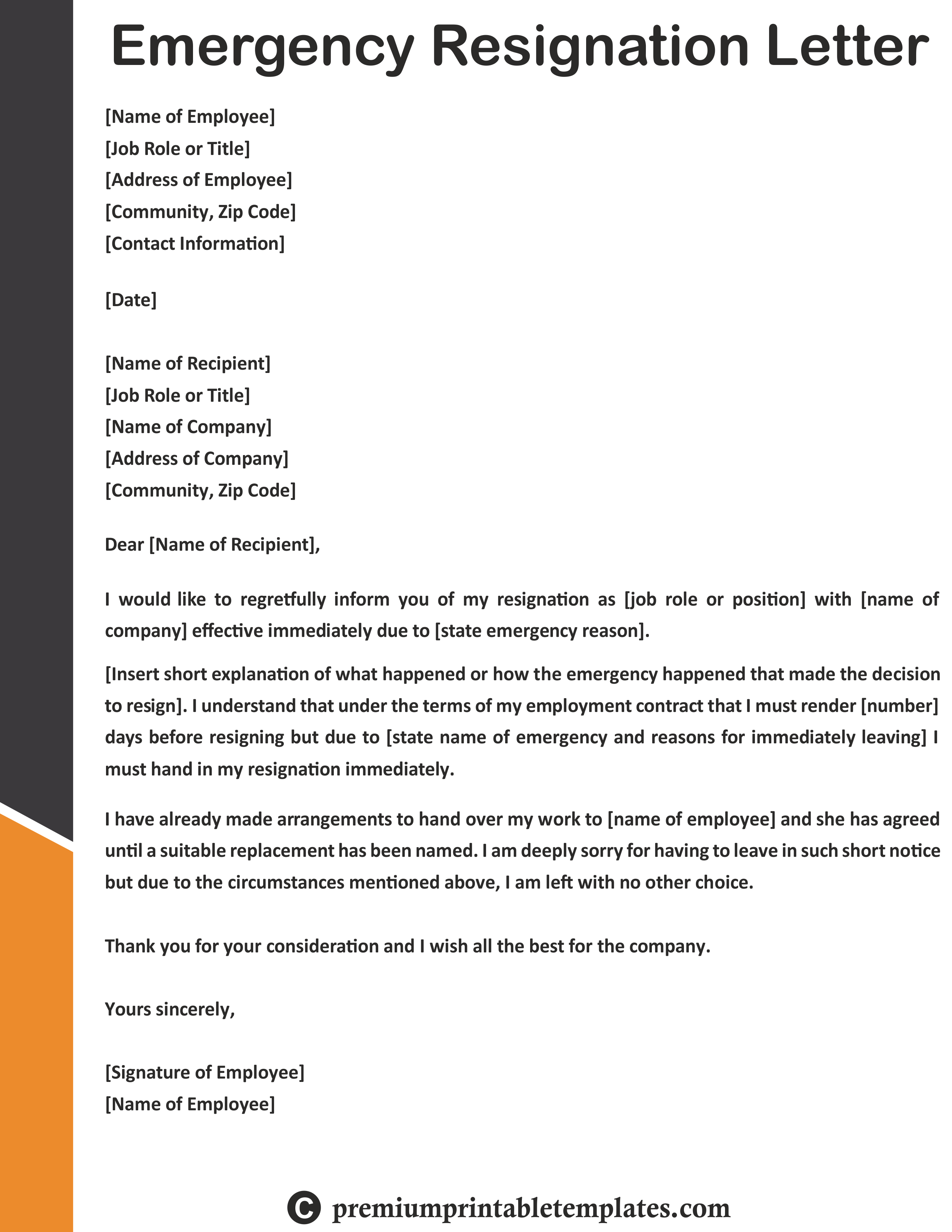 Resignation Letter Due To Health Reasons Emergency Resignation Letter Templates Resignation Letter