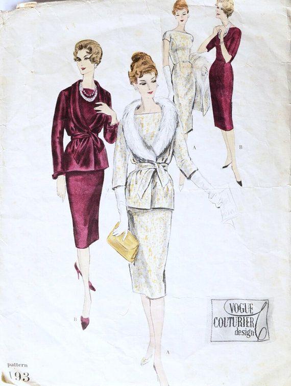 Patrón de costura vintage Vogue Couturier diseño 193 por Tigrisa ...