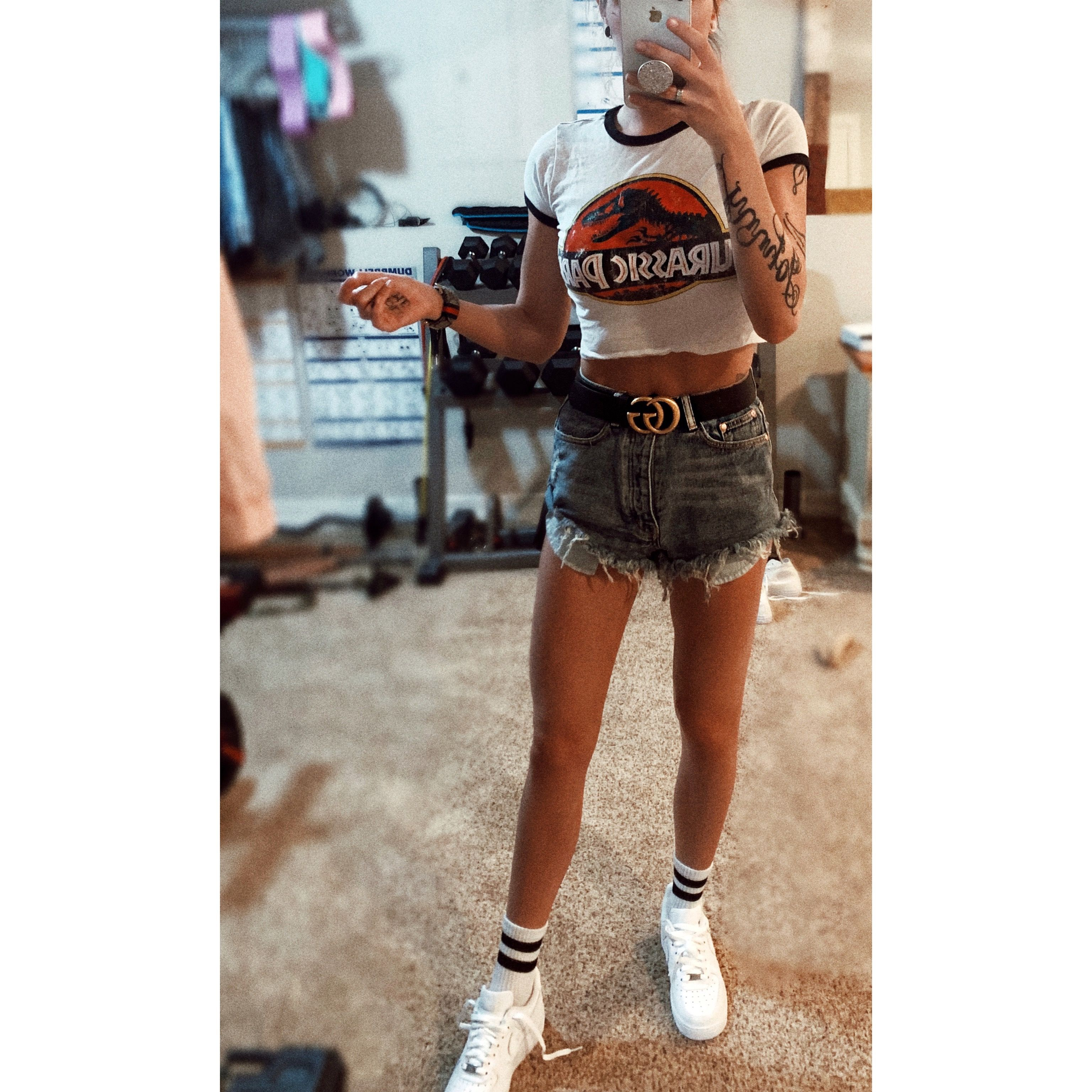 Gucci belt. high waisted. Jean shorts