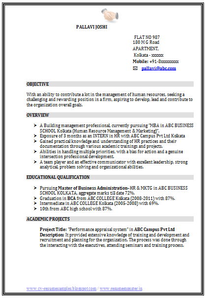 resume title for hr fresher