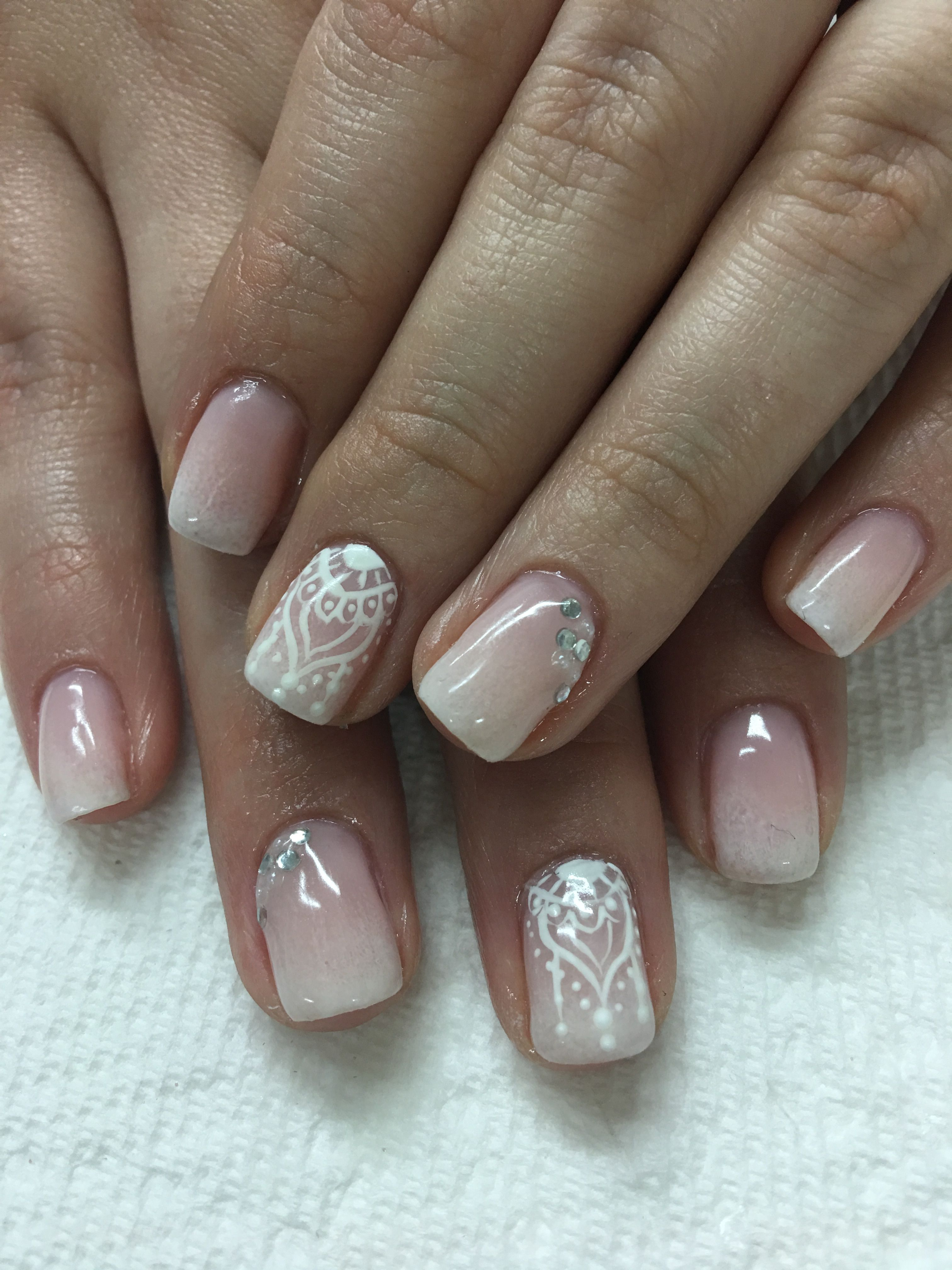 Bridal Honeymoon Hand Painted Opi Bubble Bath Ombre French Bling Gel Nails Gel Nails French Wedding Gel Nails Ombre Nail Designs