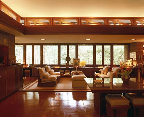 interior of the frank lloyd wright-designed brandes residence in