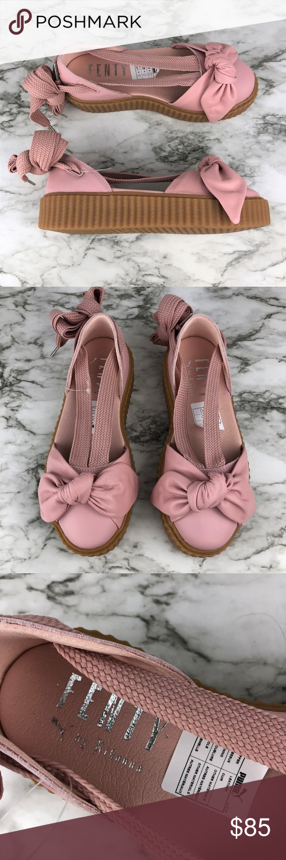 NEW PUMA Fenty Pink Bandana Leather Creeper Flats Brand new without box.  -Leather ankle-wrap flat with front bow detail -Leather upper -Round toe  -Lace-up ... 72c1ae345