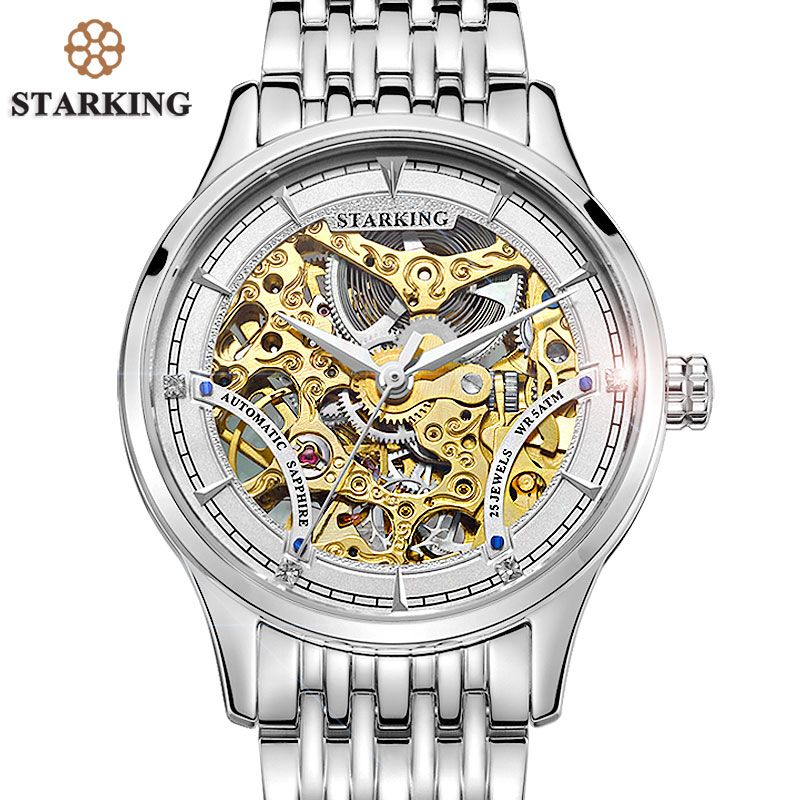 a559c815f STARKING Brand Vintage Women Automatic Watch 50m Water Resistant Swiss  Design Skeleton Mechanical Stainless Steel Wristwatches