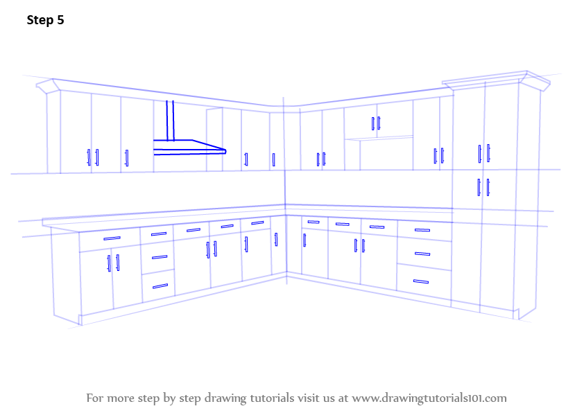 Learn How To Draw Kitchen Cabinets Furniture Step By Step