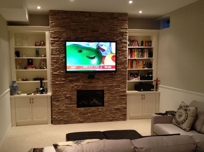 Custom wall unit with stoning around fireplace - Custom Wall Unit With Stoning Around Fireplace Entertainment And