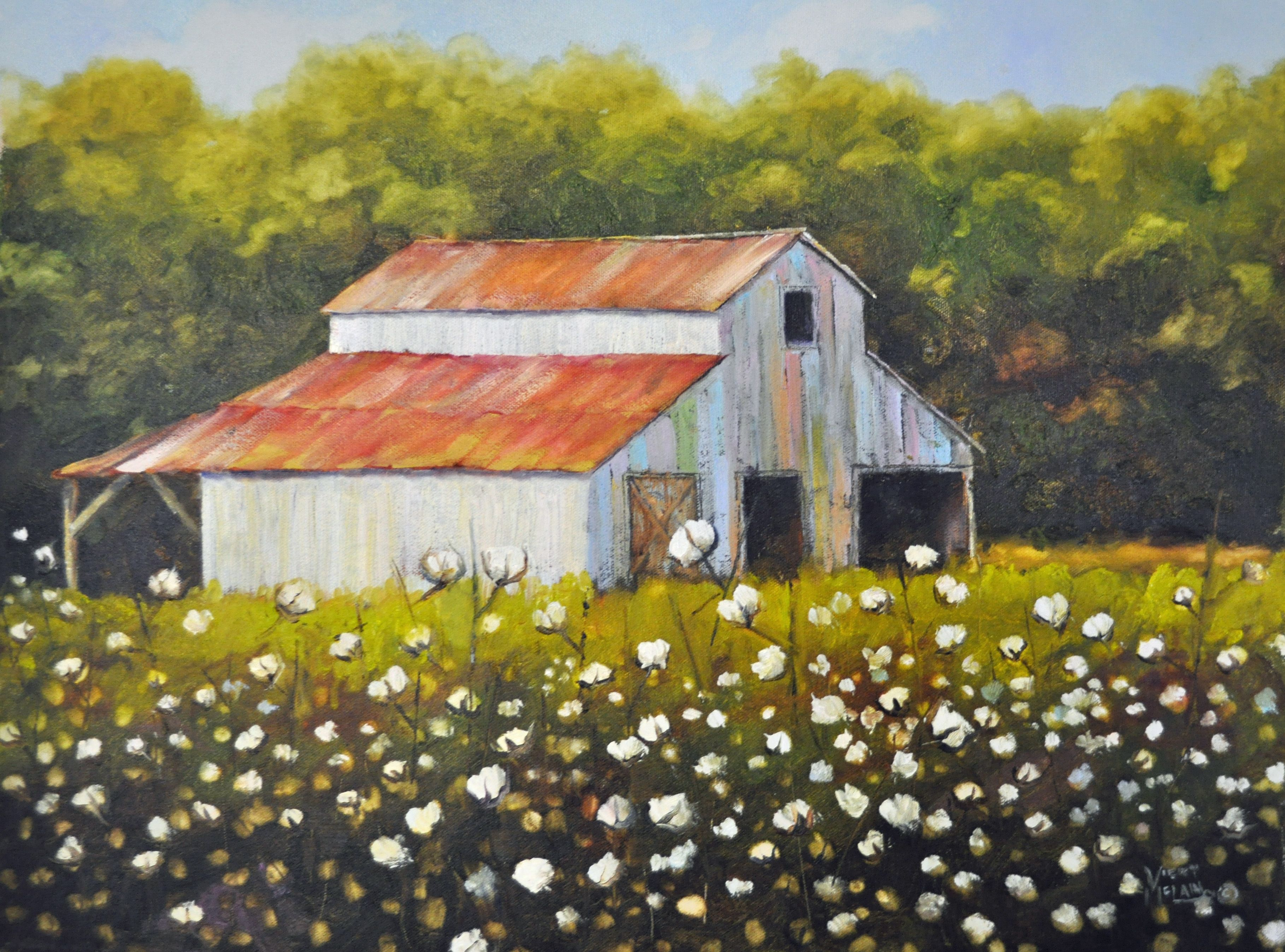 Rustic Canvas Painting Ideas Cotton Field With Barn Cotton Field Painting Barn Cotton