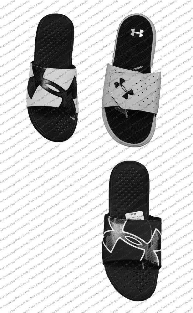 113f38a455 New Men's Under Armour Micro G EV Slide Sandals White Silver Black ...