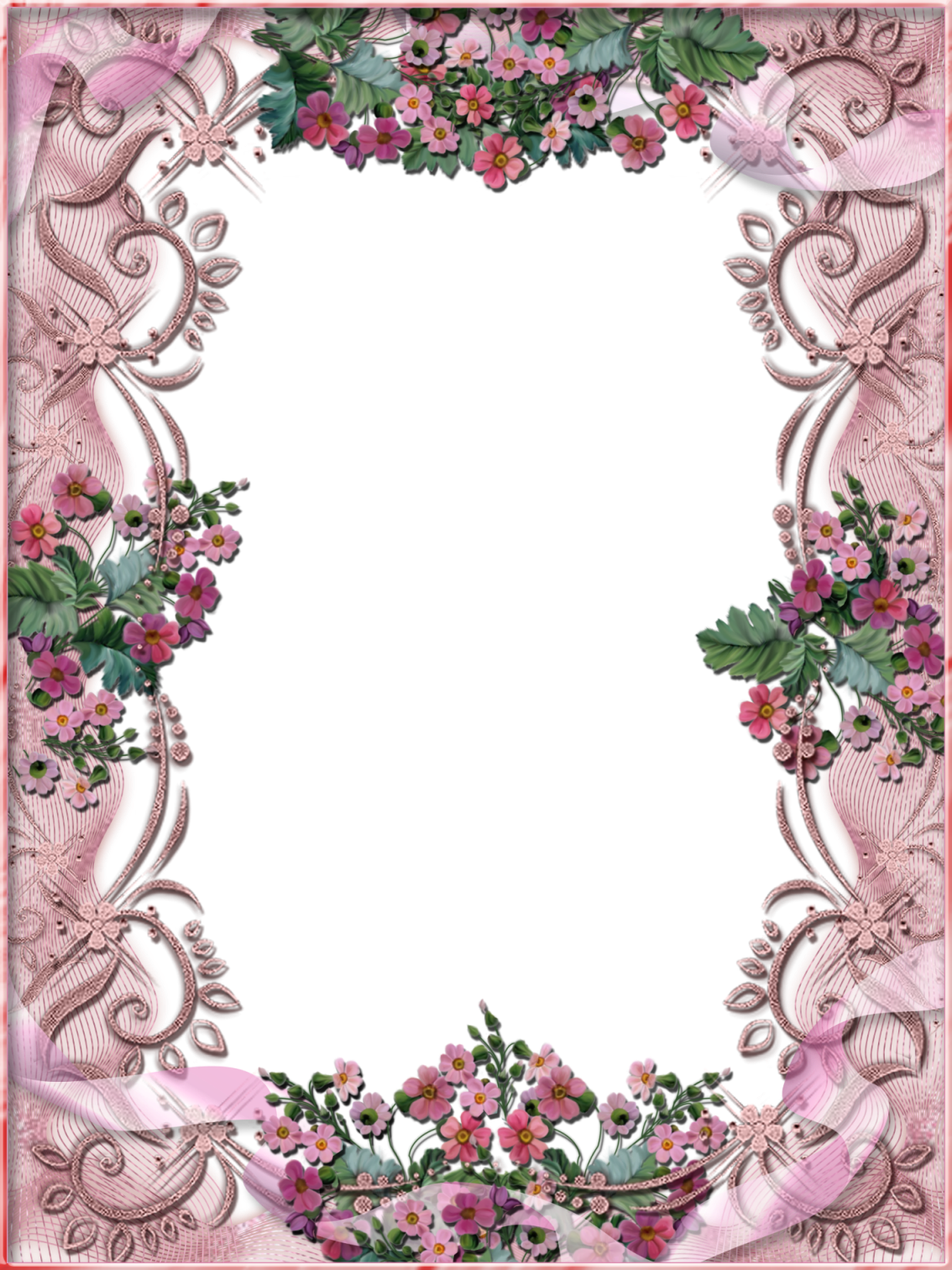 free flower frame for my picture download | Tiki\'s Pink Floral Frame ...