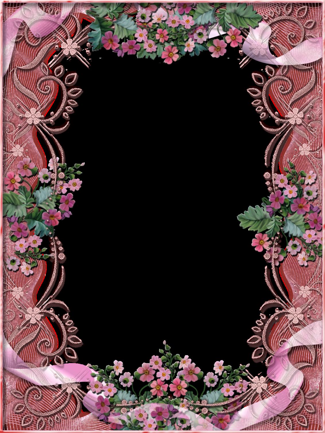 Tiki's Pink Floral Frame Flower frame, Frame border