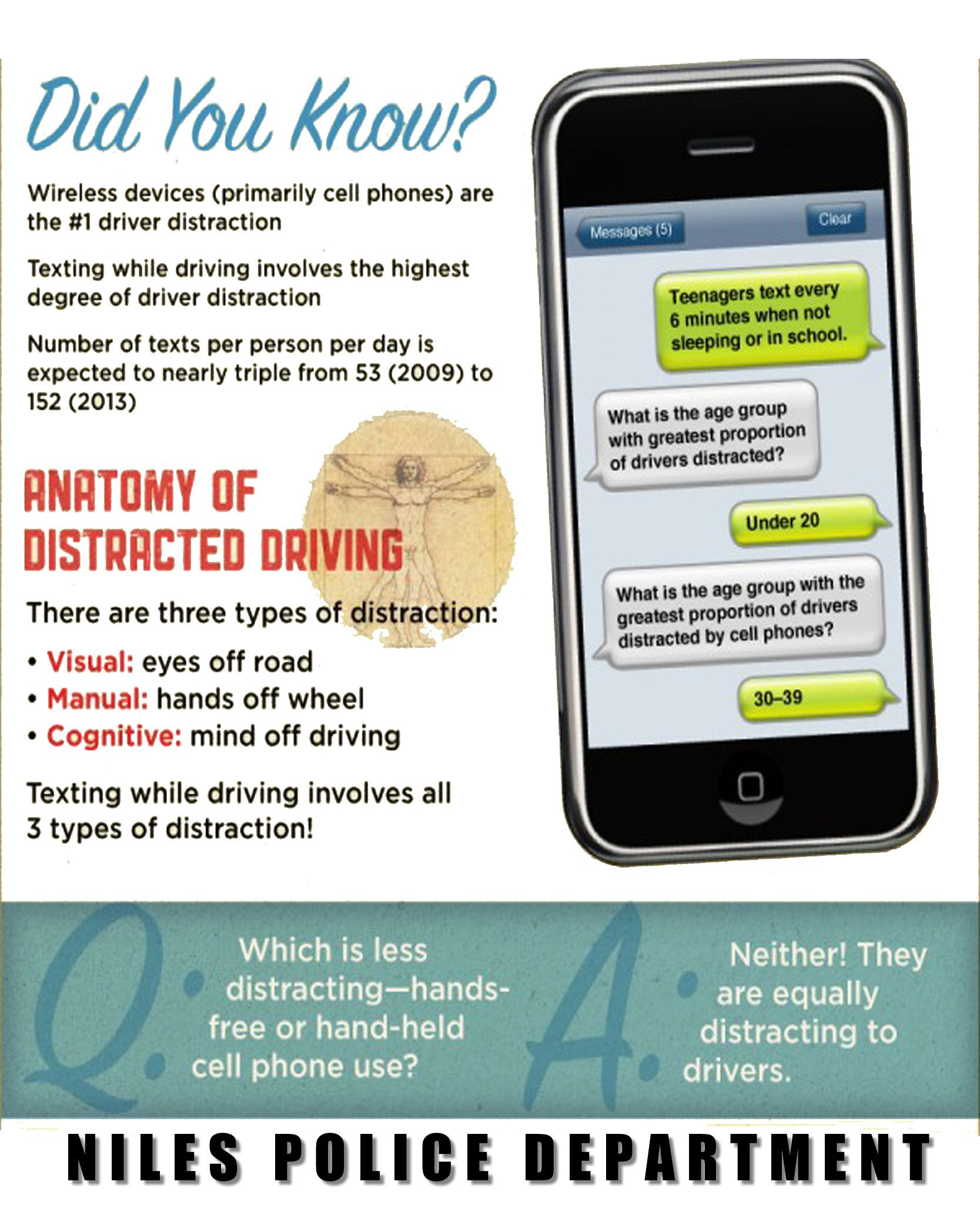 the potential dangers of using cell phones when driving The main issue with hands free phones is that they fail to address the true problem surrounding cell phone use while driving: an inability to keep the mind focused on the road.