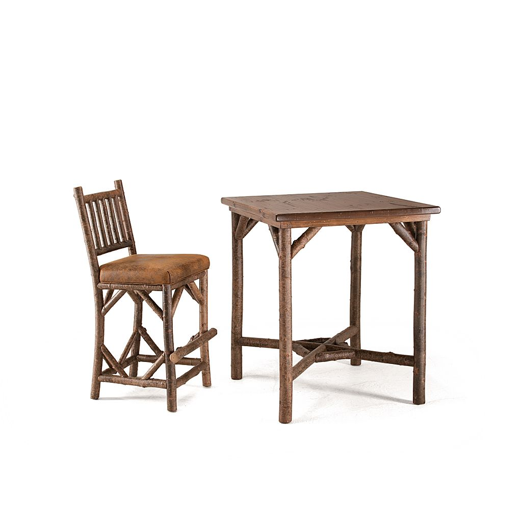 Rustic Table #3035 (bar height) shown with Medium Pine Top and Rustic Barstool #1138 - Items shown in Natural Finish (on Bark) - by La Lune Collection