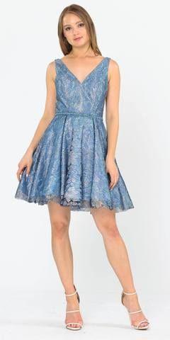 V-Neck and Back Navy Blue Homecoming Short Dress with Pockets #navyblueshortdress