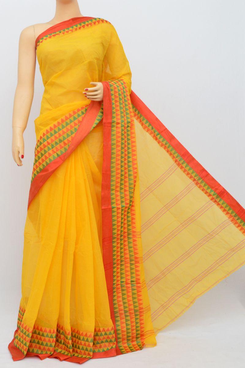 ca8fb38b6b Yellow Colour Bengal Handloom Cotton Saree(Without Blouse) SM250505 ...