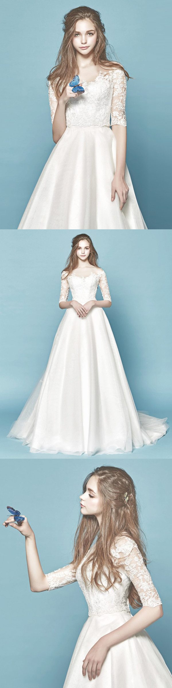 A-line Scoop Sweep/Brush Train Half sleeve Satin Wedding Dress ...