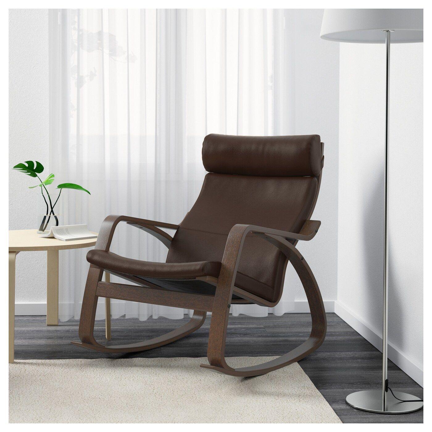 Ikea Poang Rocking Chair Brown Glose Dark Brown Fauteuil A Bascule Fauteuil Et Chaise A Bascule