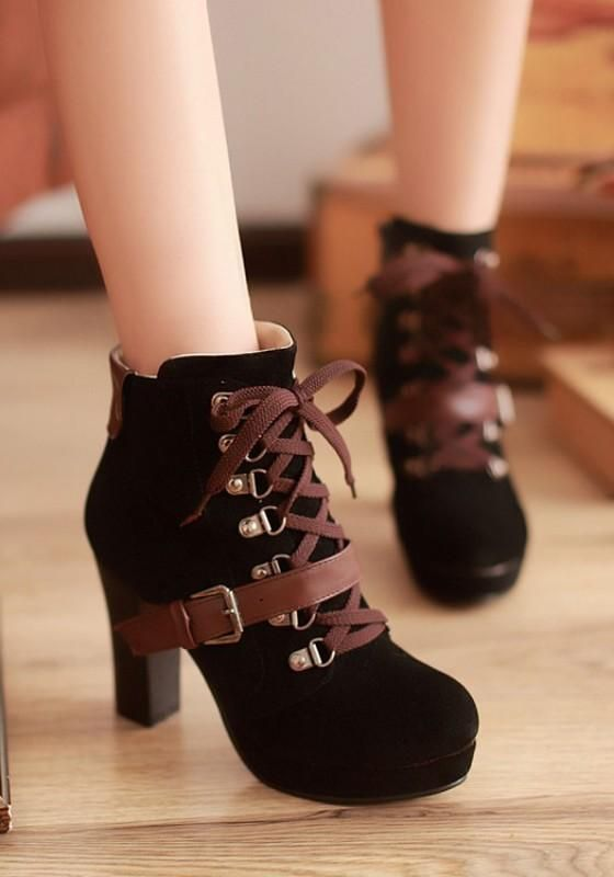 New Women Black Round Toe Chunky Buckle Zipper Casual Ankle Boots 3