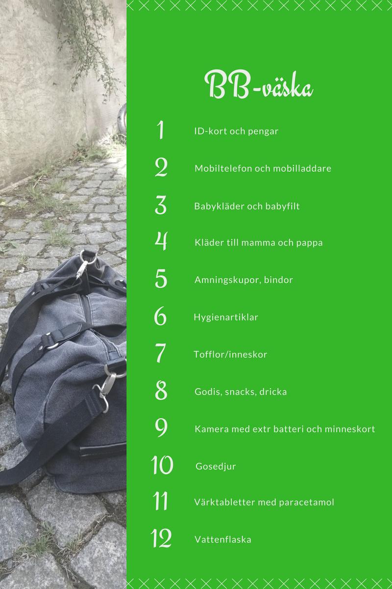 packningslista bb väska