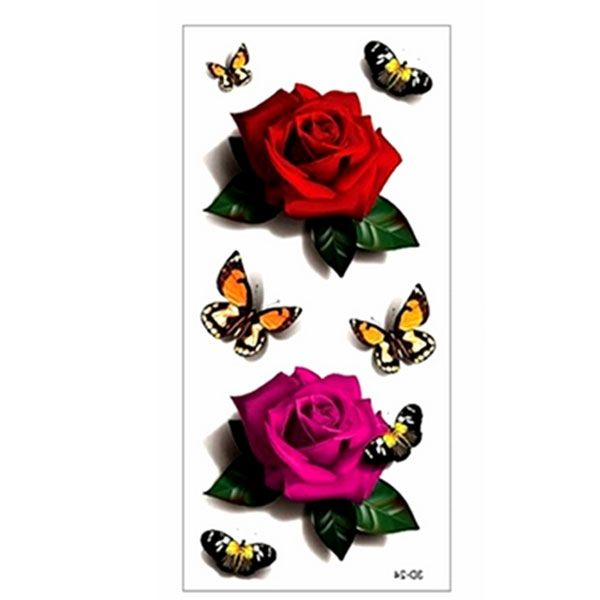 ... & Rose Style Temporary Tattoo Body Art Flash Tattoo Sticker Colorful