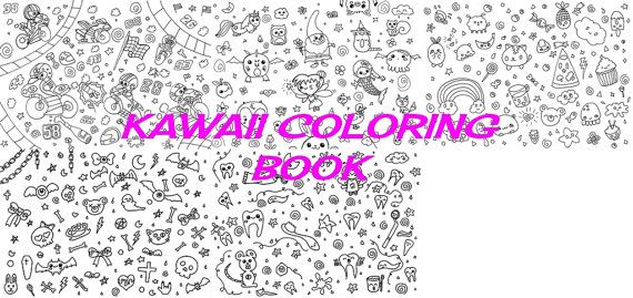 Kawaii Coloring Book Ebook Pdf Kids Colouring Chibi Fairy Lei Download Food Pastel Goth Digital Lasoffittadiste