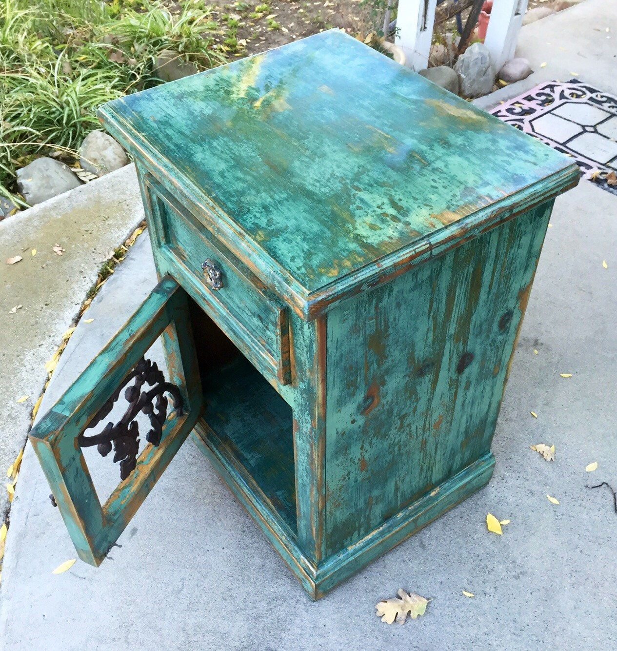 Shabby, Chic, Nightstand, green, nightstand, country, cottage ...