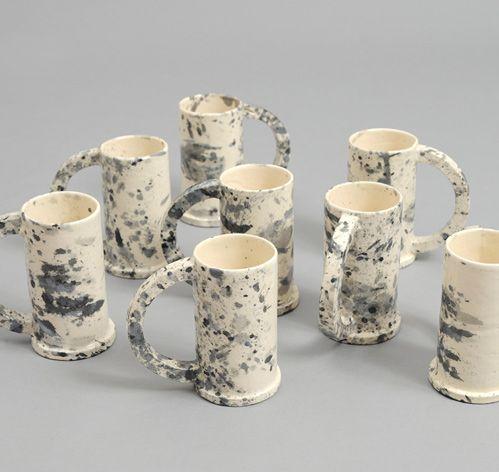 PETER SHIRE / ECHO PARK: Tall Black-Splattered Mug