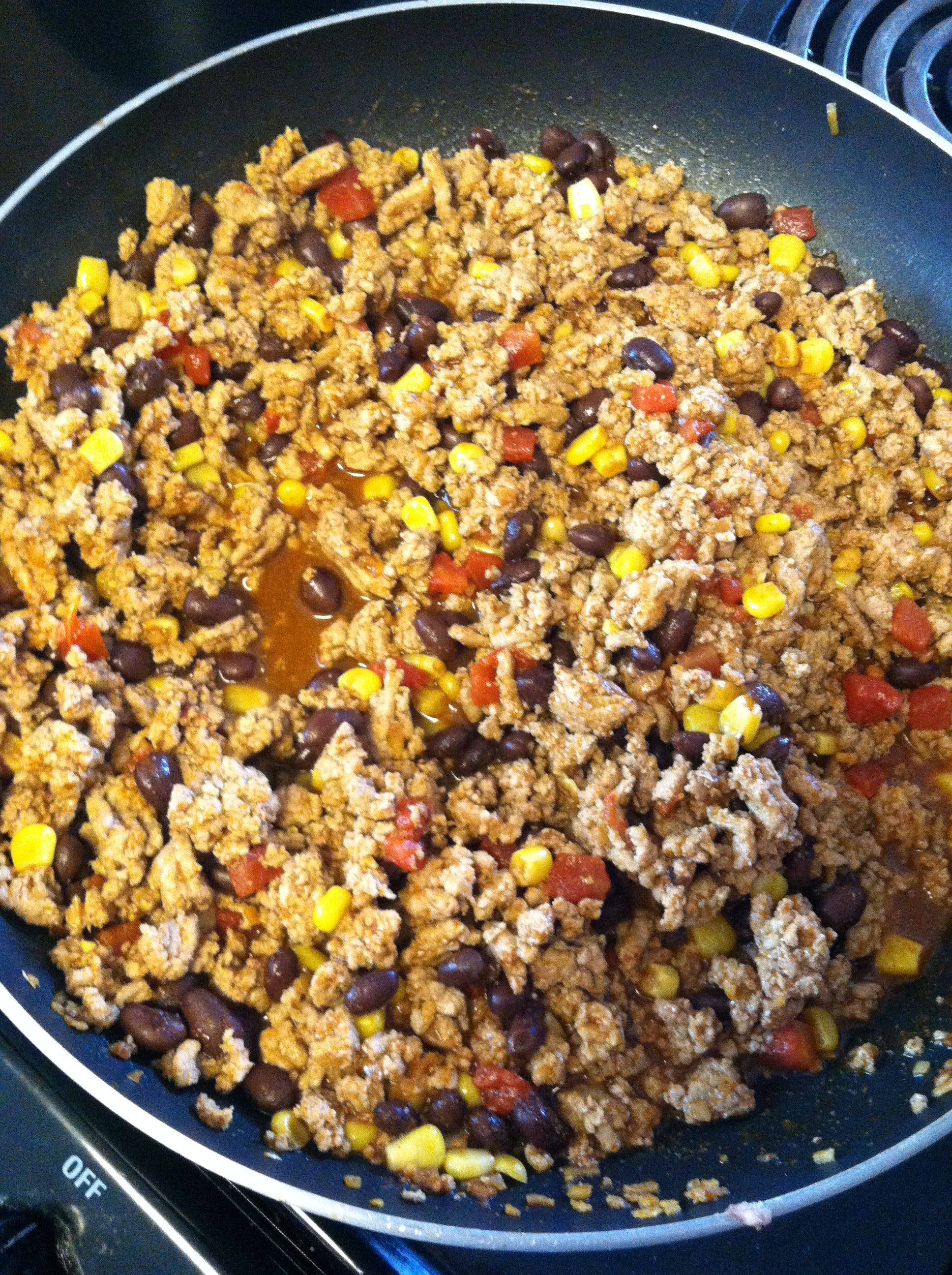 Easy Mexican Night Ground Beef Turkey Black Beans Corn Diced Tomatoes And Taco Seasoning Serve With Chips Or Taco Shell Or Beef Recipes Easy Mexican Food