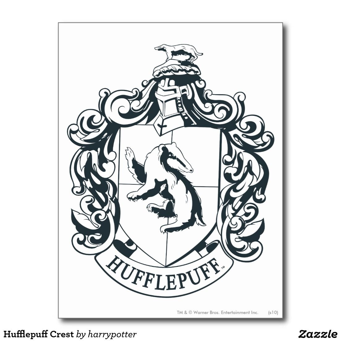 Comprar Libros De Harry Potter Postal Escudo De Hufflepuff Zazzle En 2019 Harry