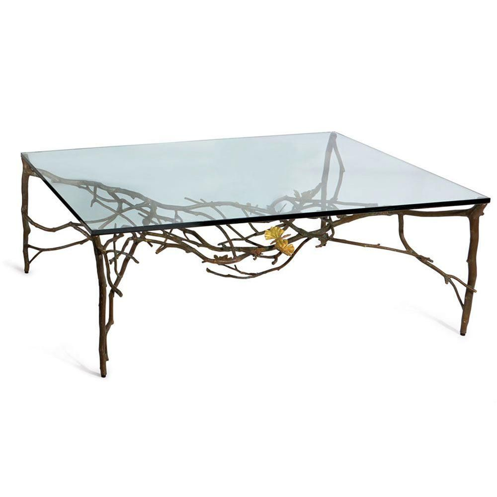 Michael Aram Butterfly Gingko Modern Classic Clear Glass Rectangular Coffee Table Coffee Table Rectangular Coffee Table Modern Classic [ 1000 x 1000 Pixel ]