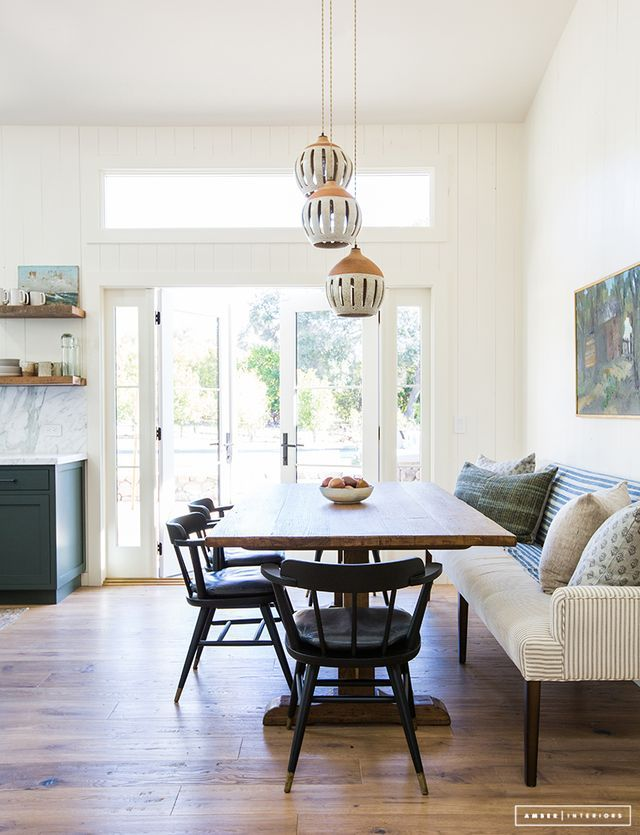 Before After Client Oh Hi Ojai Amber Interiors Corner Bench Dining TableDining Banquette