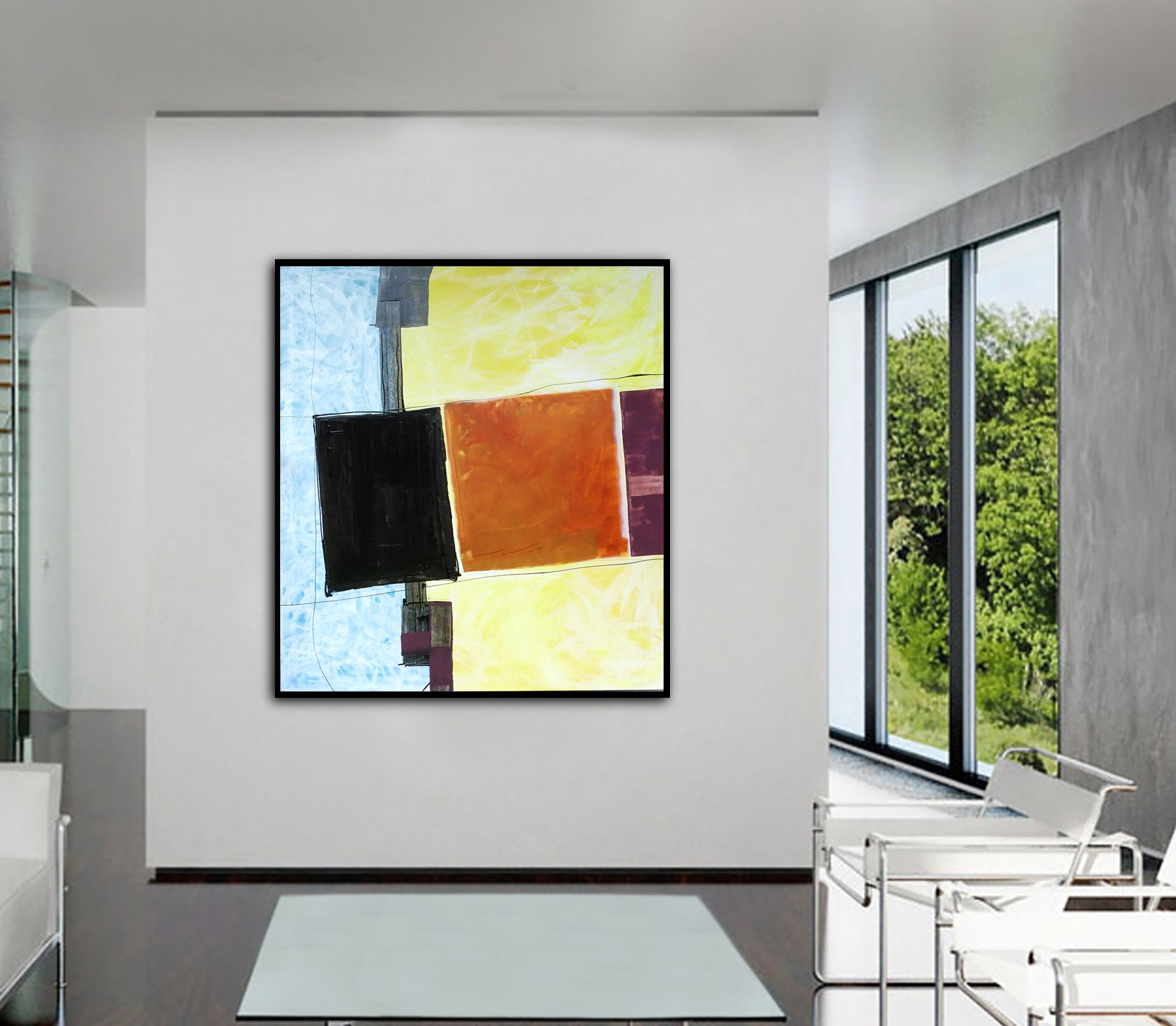 Title: Three Squares 1 Artist: Mark Fearn Medium: Painting - Oil, Enamel And Acrylic On Canvas