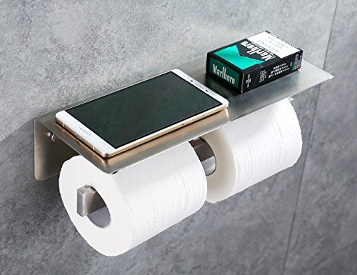 Apl8912g Sus304 Stainless Steel Toilet Double Paper Tissue Holder With Mobile Phone Storage Toilet Paper Holder Modern Bathroom Accessories Wall Mounted Toilet