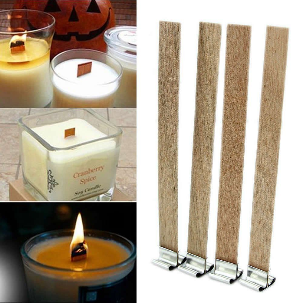 FunnyDay 10Pcs 3 Sizes Candle Wood Wick with Sustainer Tab