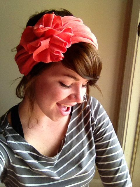Solid coral pink Jersey headband. Flower large on Etsy, $8.50