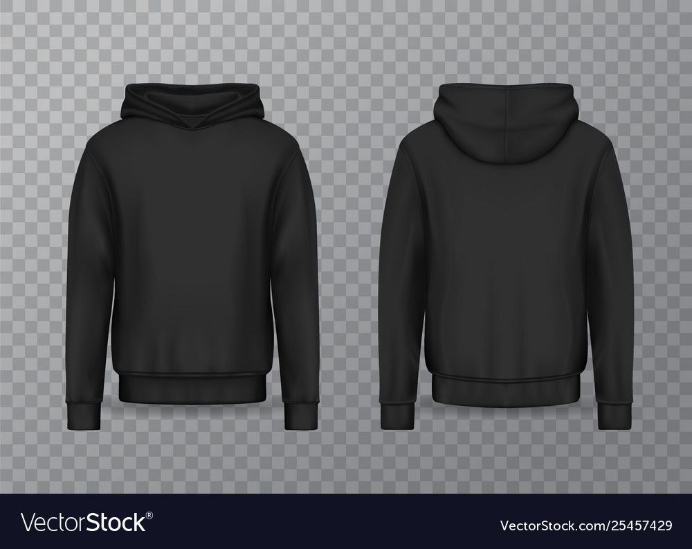 Realistic Men Hoodie Or Black 3d Hoody Sweatshirt Vector Image Affiliate Hoodie Black Realistic Men Ad Baju Kaos Pakaian Kaos